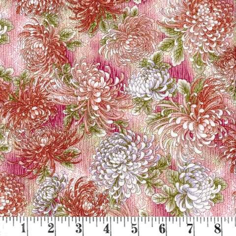 X068 Serene Garden - red/ pink/ white chrysanthemum