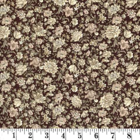 X232 Gentle Flowers - allover floral print on muted aubergine