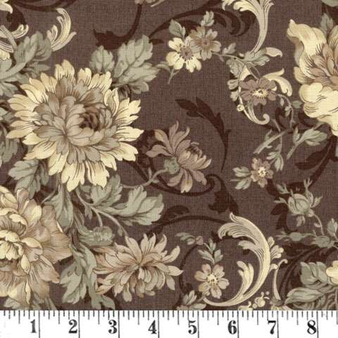 X237 Gentle Flowers - large floral on muted aubergine