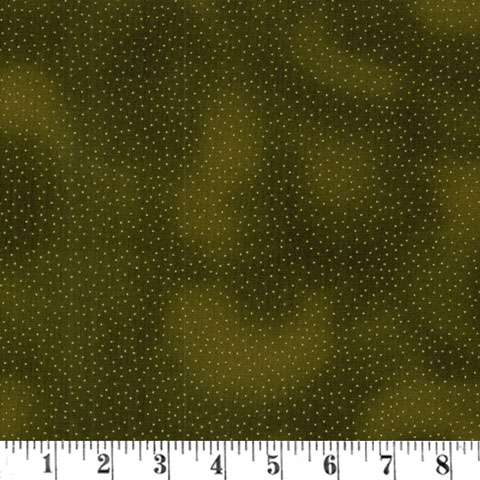 X495 Tiny Dots on olive with gold overlay