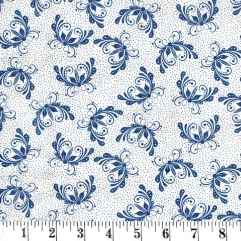 X619 A Quilter's Garden - Whit/Blue Butterfly