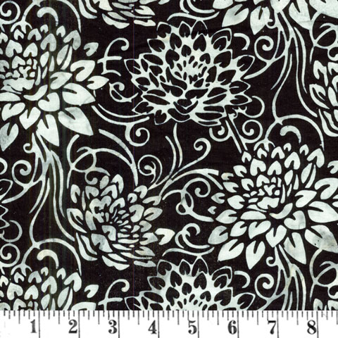 X797 Bali Handpaint - Chrysanthemums on Black