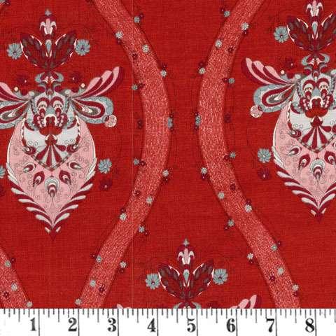 X859 Annemie - Red Wavy Floral Stripe