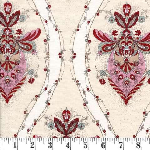 X865 Annemie - Cream Wavy Floral Stripe
