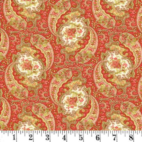 Y231 Autumn Lily - Blooming Paisley - Rosy Red Blooms