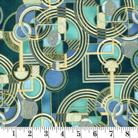 Y386 Lavish - Geometric - Teal/Metallic
