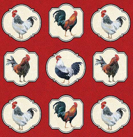 Y392 Cock-A-Doodle-Doo - 30cm Panel Repeat (WAS $9)