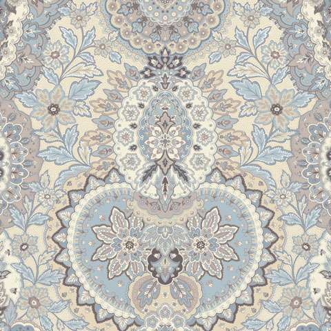 Y568 Gatsbys Flora Blue Boarder Fabric