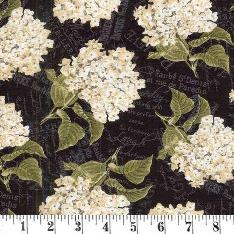 Y816 Vintage Garden - Black Packed Floral