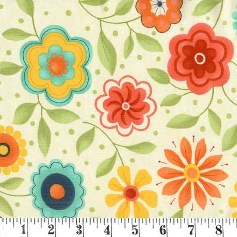 Z526 Block Party - happy floral on cream