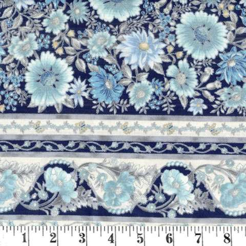 Z564 Tuscan Wildflower - Blue Flower Stripe