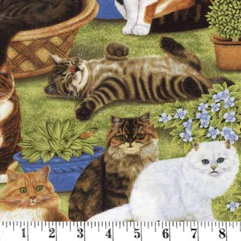 Z784 Feline Fine Green Scenic Conversationalsfabric In